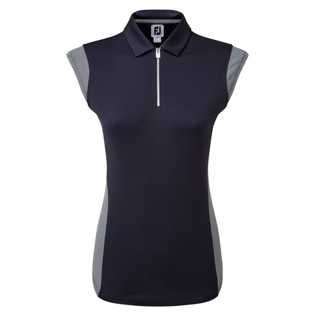 FootJoy Womens Micro Interlock Princess Seam Shirt with Half Cap Sleeve